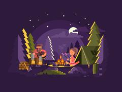 Camp is near a fire Stock Illustration