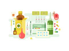 Medical drugs design flat - stock illustration