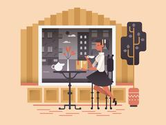 Girl sit in cafe - stock illustration