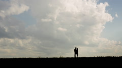 Couple in love silhouette - stock footage