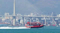 High-speed hydrofoil ferry boat in Hong Kong Stock Footage