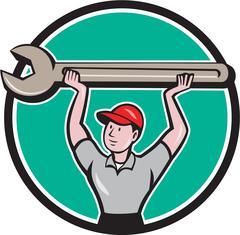 Mechanic Lifting Giant Wrench Circle Cartoon - stock illustration