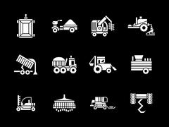 White glyph agriculture vehicles vector icons Stock Illustration