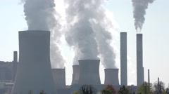 Coal-burning power station: steam from the smokestack Stock Footage