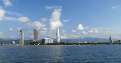 View from sea in the coastal town Batumi Stock Footage