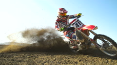 Extreme Motocross Rider Racing Turn In Slow Motion Stock Footage