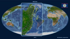 Belize - 3D tube zoom (Mollweide projection). Satellite - stock footage