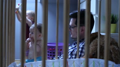 Father spend time with lovely kids - stock footage