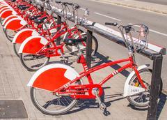 City bikes for rent Stock Photos