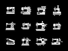 White glyph style sewing machine vector icons set - stock illustration