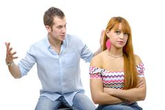 Couple have an argument because of relationship crisis Stock Photos