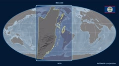 Belize - 3D tube zoom (Mollweide projection) - stock footage