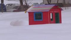 Wooden childish cabin in the winter. Stock Footage