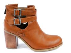 Women's ankle boots with high heeled leather Stock Photos