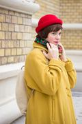 Gazing cute girl in 20s,  autumn clothes. Stock Photos