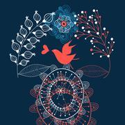 love graphics birdie on vegetable - stock illustration