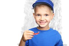 Orthodontics, little boy with braces Stock Photos