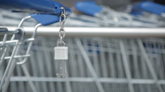Shopping cart with key Stock Footage