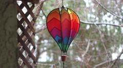 Colorful Spinning Rainbow Hot Air Balloon Windmill - stock footage