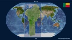 Benin - 3D tube zoom (Kavrayskiy VII projection). Satellite Stock Footage