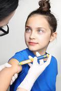 Diabetes in children, child take insulin Stock Photos