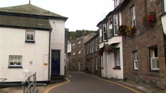 Parallel rows of houses at Mousehole, Cornwall England Stock Footage
