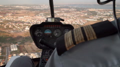 Helicopter flying cockpit Stock Footage
