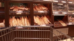 Shopping Cart In Bakery With Fresh Bread, Slow Motion Stock Footage