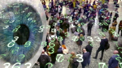 Big Brother eye watching mobile devices emitting data in a crowd of people. - stock footage