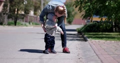 Mother and Her Baby Boy Walking - stock footage