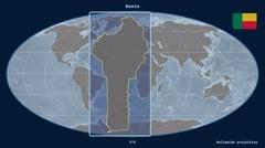 Benin - 3D tube zoom (Mollweide projection). Bumps Stock Footage
