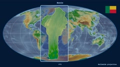 Benin - 3D tube zoom (Mollweide projection). Bumps shaded Stock Footage
