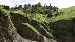 Green grass hills near Pillars cape rock Kunashir Stock Footage