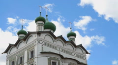 Green domes with crosses of an Orthodox monastery Stock Footage