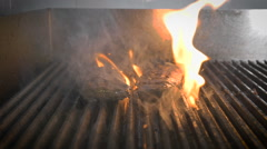 Roast beef. Professional grill in the restaurant. All sooty, dirty Stock Footage