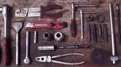 Tools on table - stock footage