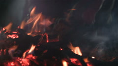 Embers in the fireplace. - stock footage