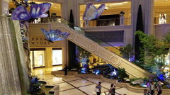 Las Vegas resort hotel fly up main atrium 4K 423 Stock Footage