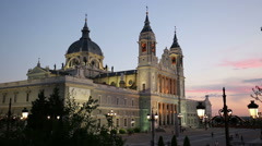Madrid, Spain at La Almudena Cathedral and the Royal Palace. Stock Footage