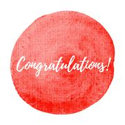 Congratulations card, poster, logo, written on red watercolor background illu - stock illustration