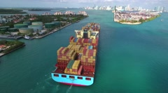 Aerial video colorful cargo containers port ship Stock Footage