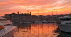 Cannes France marina beach sunset harbour harbor travel boats yachts dusk yacht - stock footage