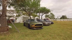 Performance Mustangs at a car show Stock Footage