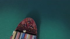 Cargo ship inspection aerial above Stock Footage