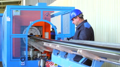 Production process of plastic pipes at the plant Stock Footage