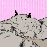 Upset lovers over pink on mountain - stock illustration