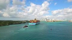 Aerial video cargo ship to Port Miami - stock footage