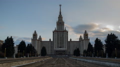 Sunset in Moscow State University Stock Footage