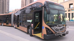 All electric transit bus from BYD in China on display in Mississauga Canada v1 Stock Footage