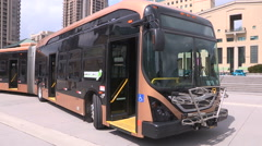 All electric transit bus from BYD in China on display in Mississauga Canada v2 Stock Footage